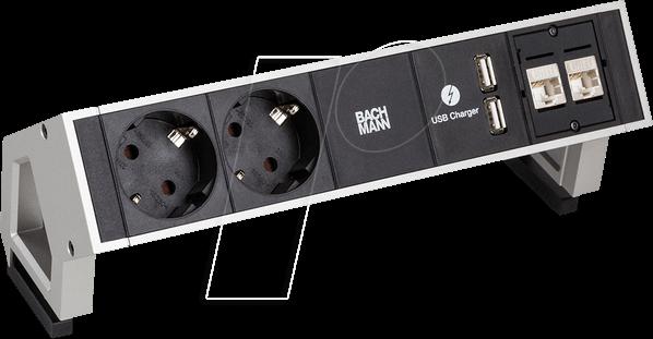 BACH 902.563 - Tischsteckdose, 2-fach, Typ F, 2 x USB, 2 x LAN, schwarz