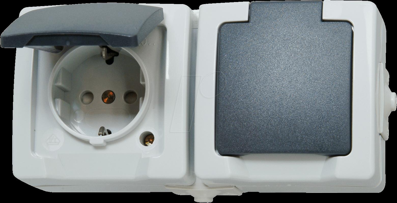 el frb skdo2w socket 50 x 75 x 150 mm 250 v 16 a 2p e avec obturateurs gris chez reichelt. Black Bedroom Furniture Sets. Home Design Ideas