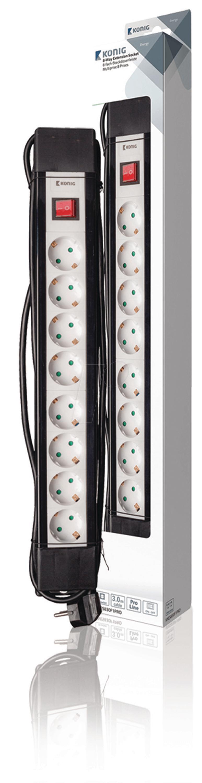 kn es830f1pro steckdosenleiste 8 fach 3 m mit schalter schwarz bei reichelt elektronik. Black Bedroom Furniture Sets. Home Design Ideas