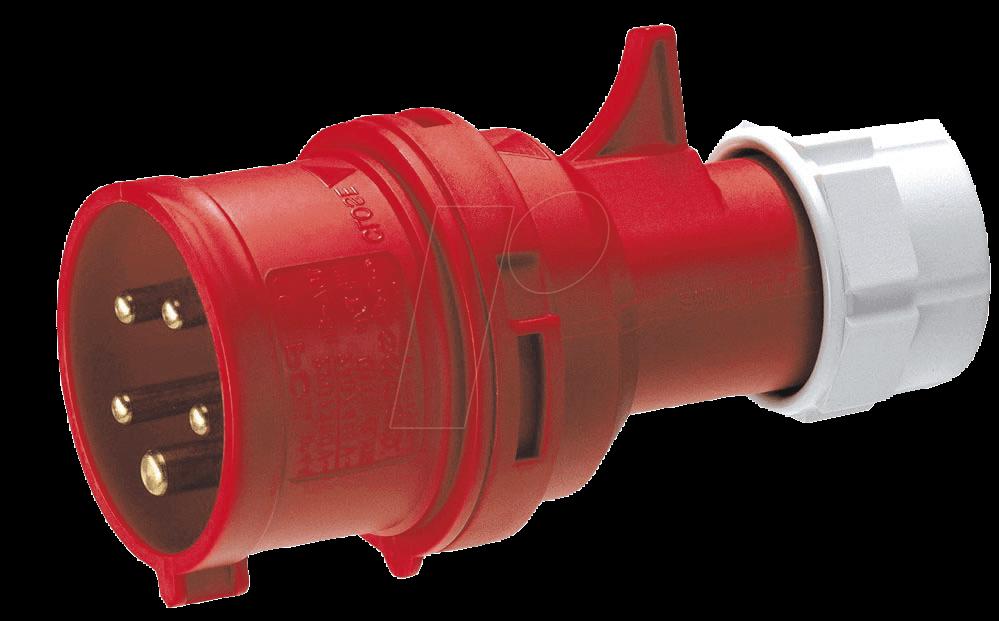 CEE-STECKER 2-16: CEE-Stecker, 400V, 16A, rot, 5-polig bei reichelt ...