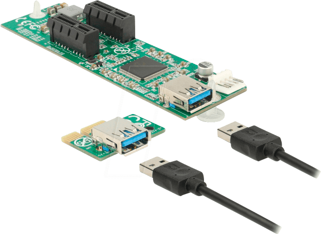 41433 - Riser Karte PCI Express x1 > 2 x PCIe x1, 30 cm USB Kabel
