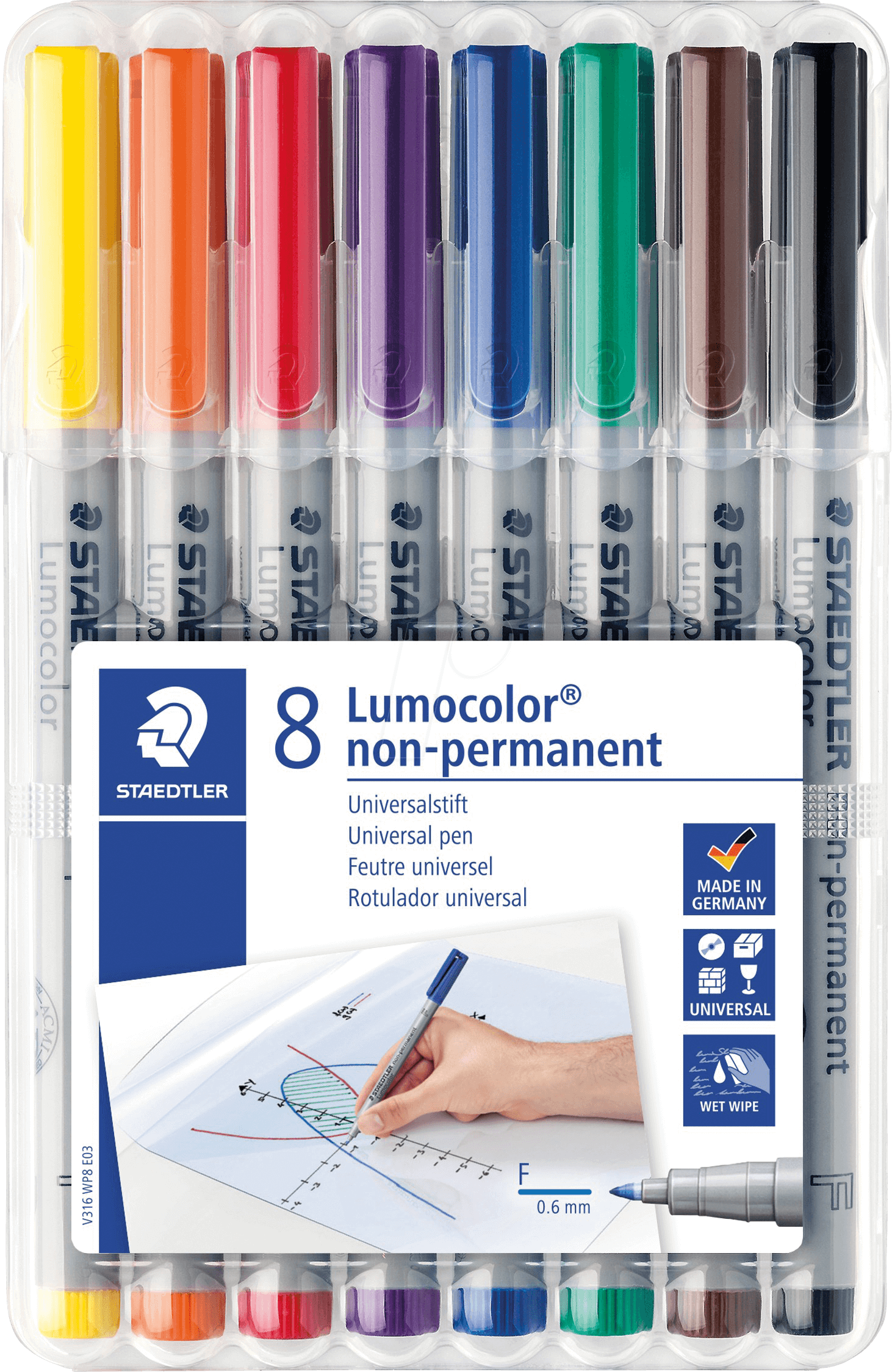 STAEDTLER 316WP8 - Lumocolor non-permanent Box mit 8 Farben, F 0,6 mm