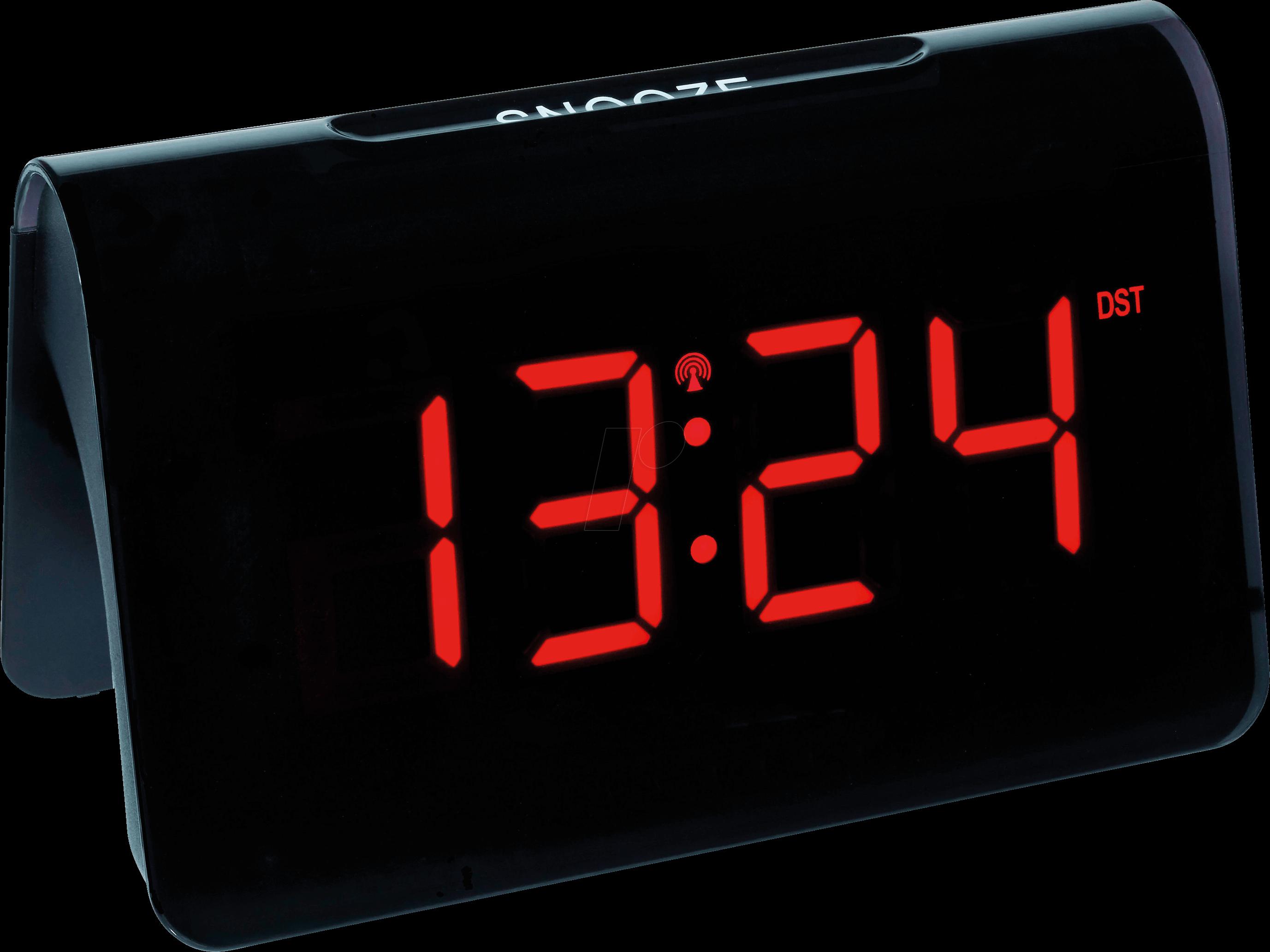 TFA 60254305 - Radio alarm clock, black, red LED display