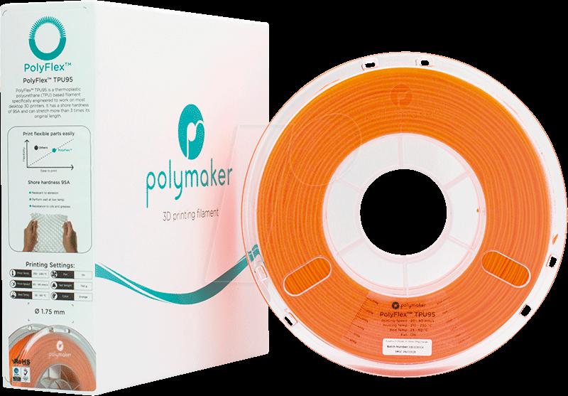 POLYMAKER 70108 - Filament - PolyFlex TPU95 - Orange - 750 g