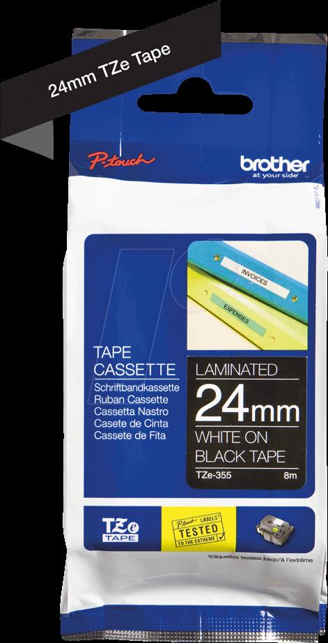 Schriftband für Brother P-Touch TZE-355 8m//24mm Weiß auf Schwarz