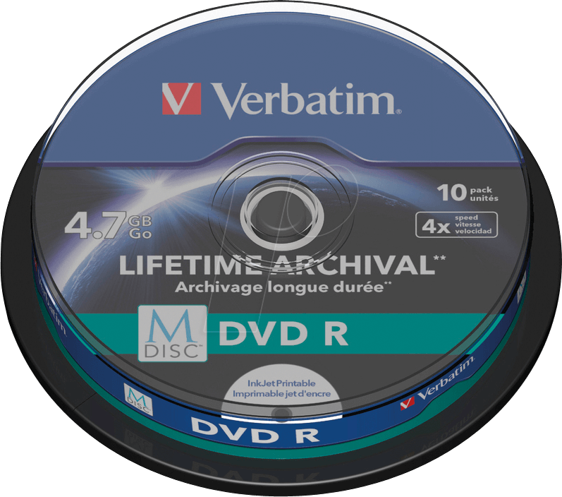 photograph relating to Printable Dvd Disc identify VERBATIM 43824 - DVD-R, 4.7 GB, printable, pack of 10 (M-DISC)