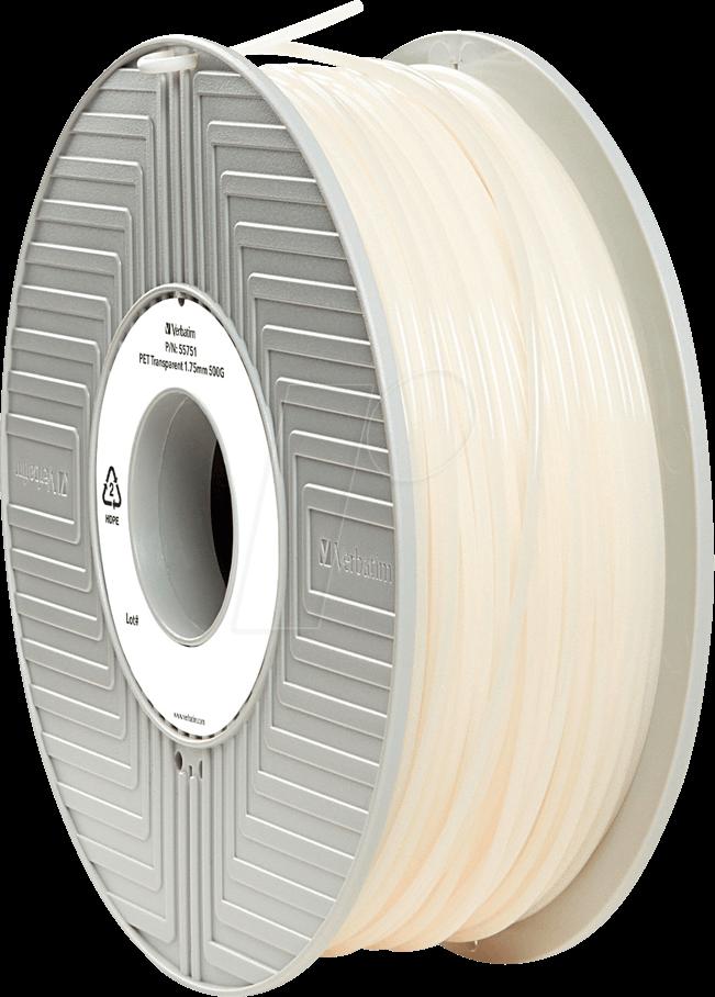 VERBATIM 55751 - PET Filament - transparent - 1,75 mm - 500 g
