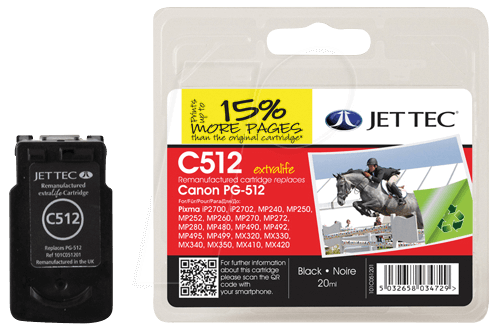 JET 137C051201 - Tinte, schwarz - PG-512 - refill