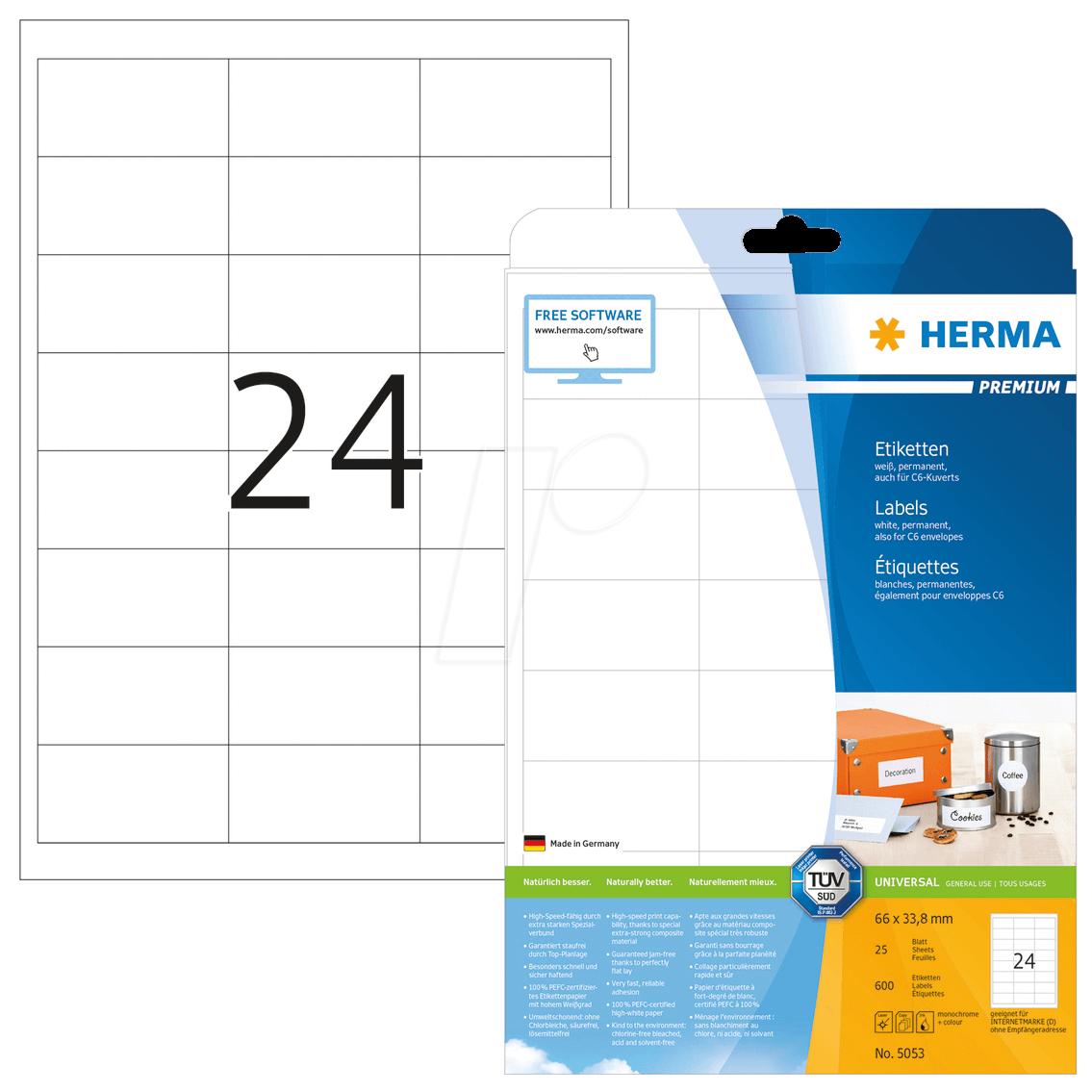HERMA 5053 - PREMIUM Etiketten A4, 66 x 33,8 mm, weiß, permanent haftend