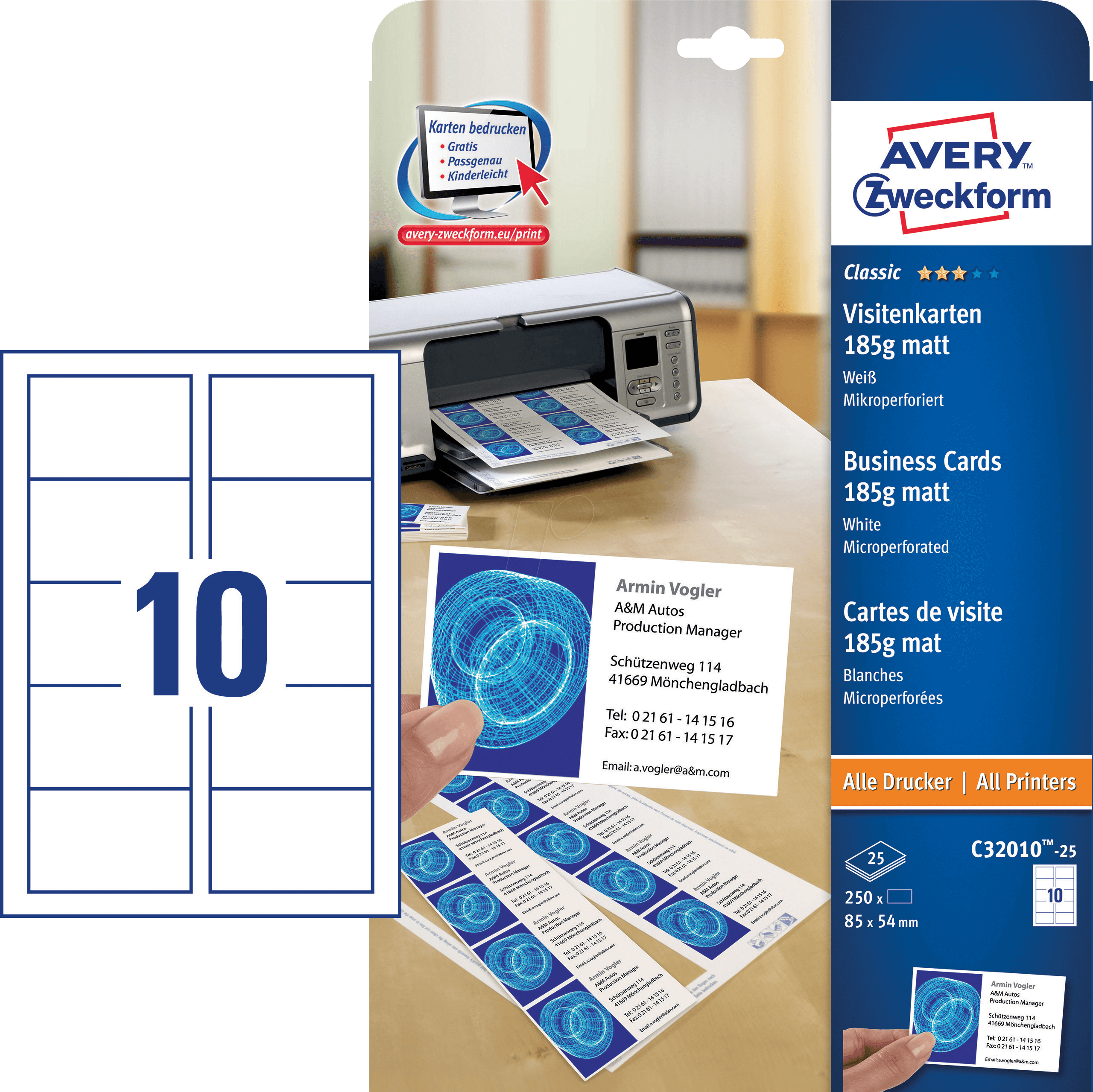 250 Cartes De Visite Avec Microperforation AVERY ZWECKFORM C32010 25