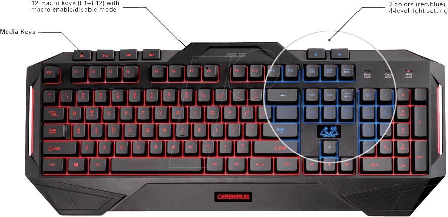 toetsenbord usb zwart gaming verlicht asus 90yh00r1 b2ga00