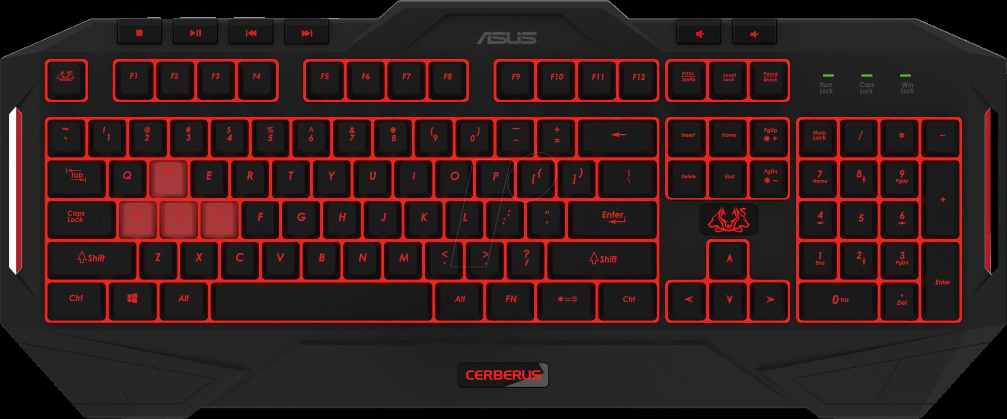toetsenbord usb zwart gaming verlicht asus 90yh0131 b2ga00