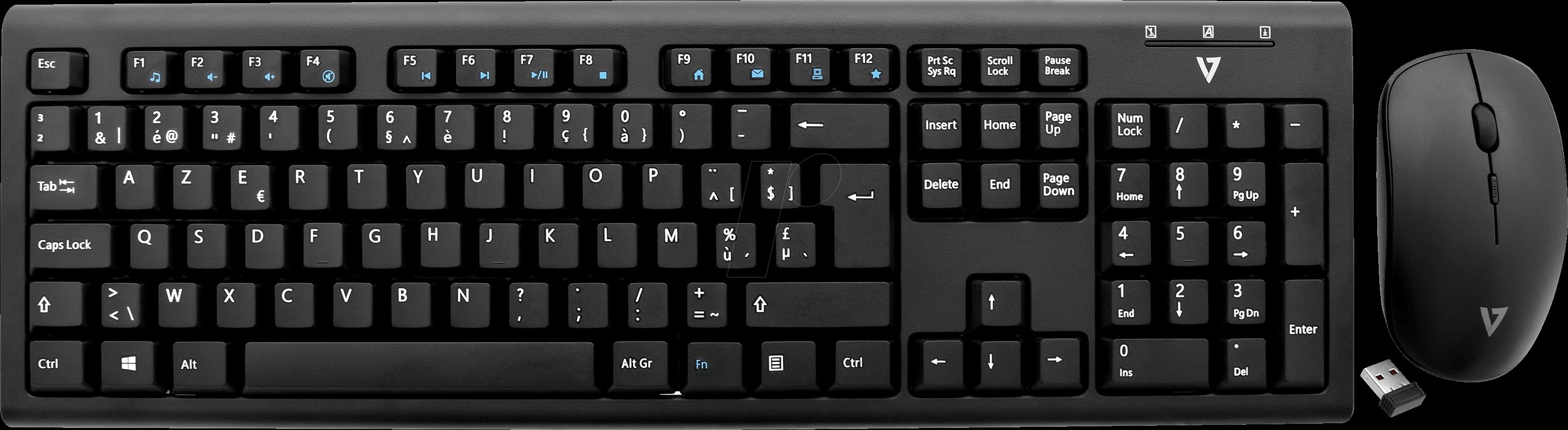 V7 CKW200BE - Tastatur-/Maus-Kombination, Funk,...