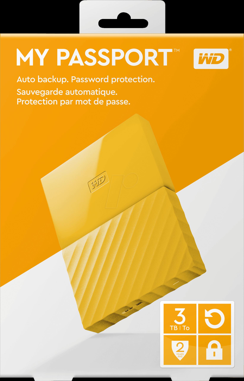 Wdbyft0030byl Wd 3tb My Passport Portable Hard Drive Yellow At Wdbbkd0030 Disk Cartridge Western Digital Wesn