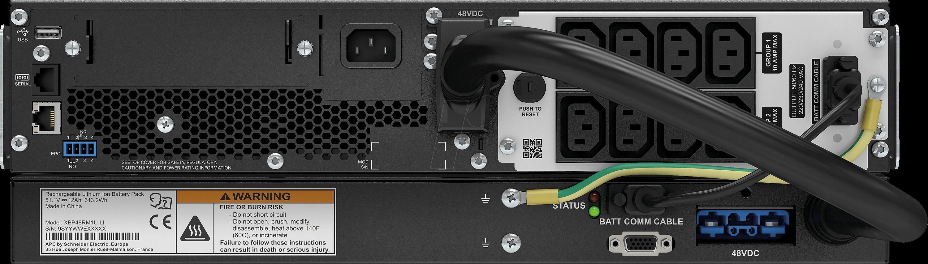 APC SRTL1000RNIC - Smart UPS, Li-Ion, 900 W/1000 VA, 230 V, 4 outputs