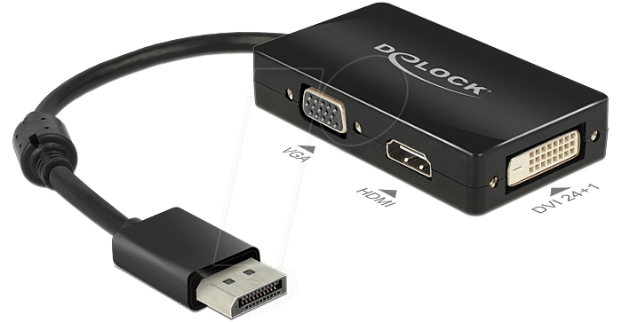 DELOCK 62656: DisplayPort Adapter, DP auf VGA - HDMI - DVI