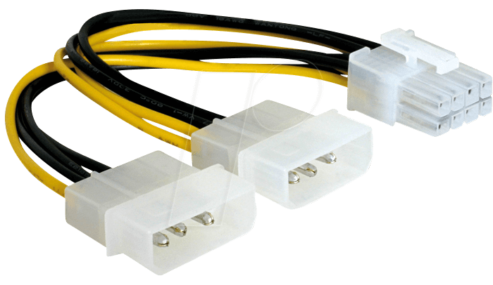 82397 - Molex 2x 4 Pin Stecker > 8 Pin PCI Express, 15 cm