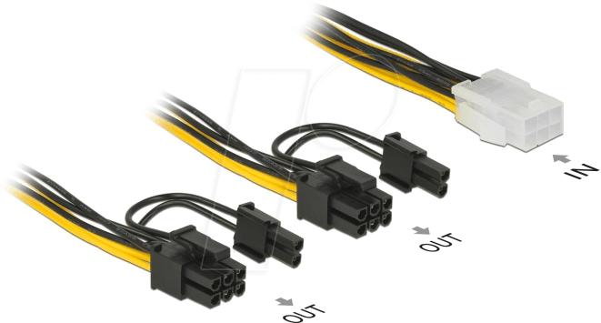 Power adaptor cable 2x SATA plug to 8pin PCI-Express plug 0.15m