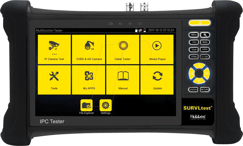 Hobbes HST319 SURVLtest 7 Inch IPS Retina Touch Screen IP//CCTV 8MP CVBS//TVI//CVI//AHD H.265 4K Multi Function Camera Tester with WiFi//PoE//ONVIF//Cable Trace and Test