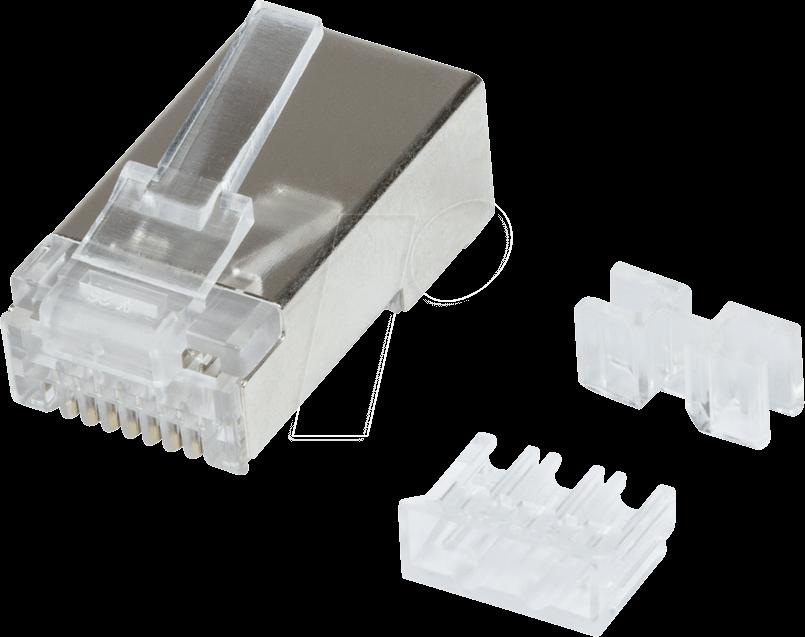 LOGILINK MP0070 - Modularer Steckverbinder Cat.6A STP RJ45, 50 Stück