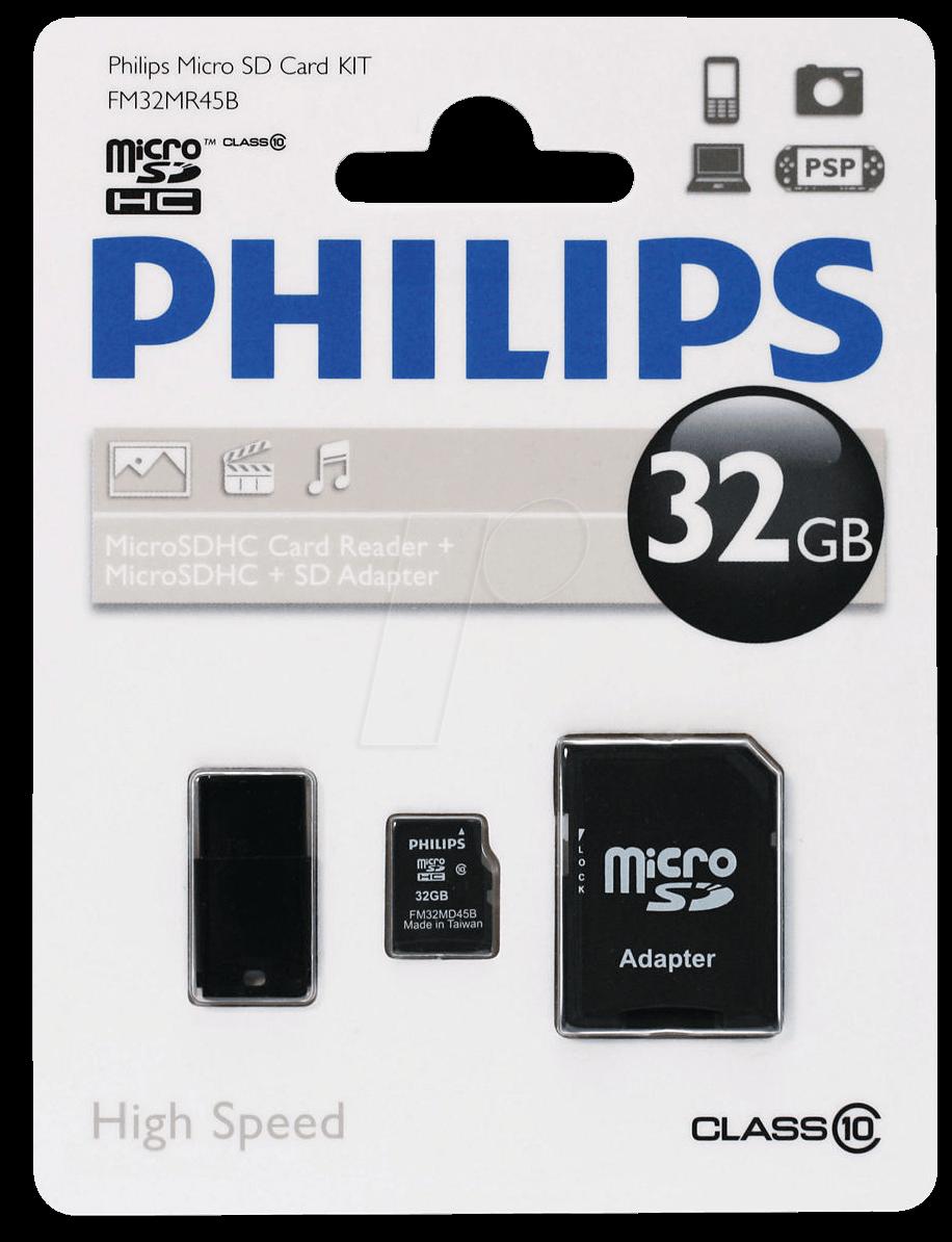 PHI FM32MR45B/10 - MicroSDHC-Speicherkarte 32GB...
