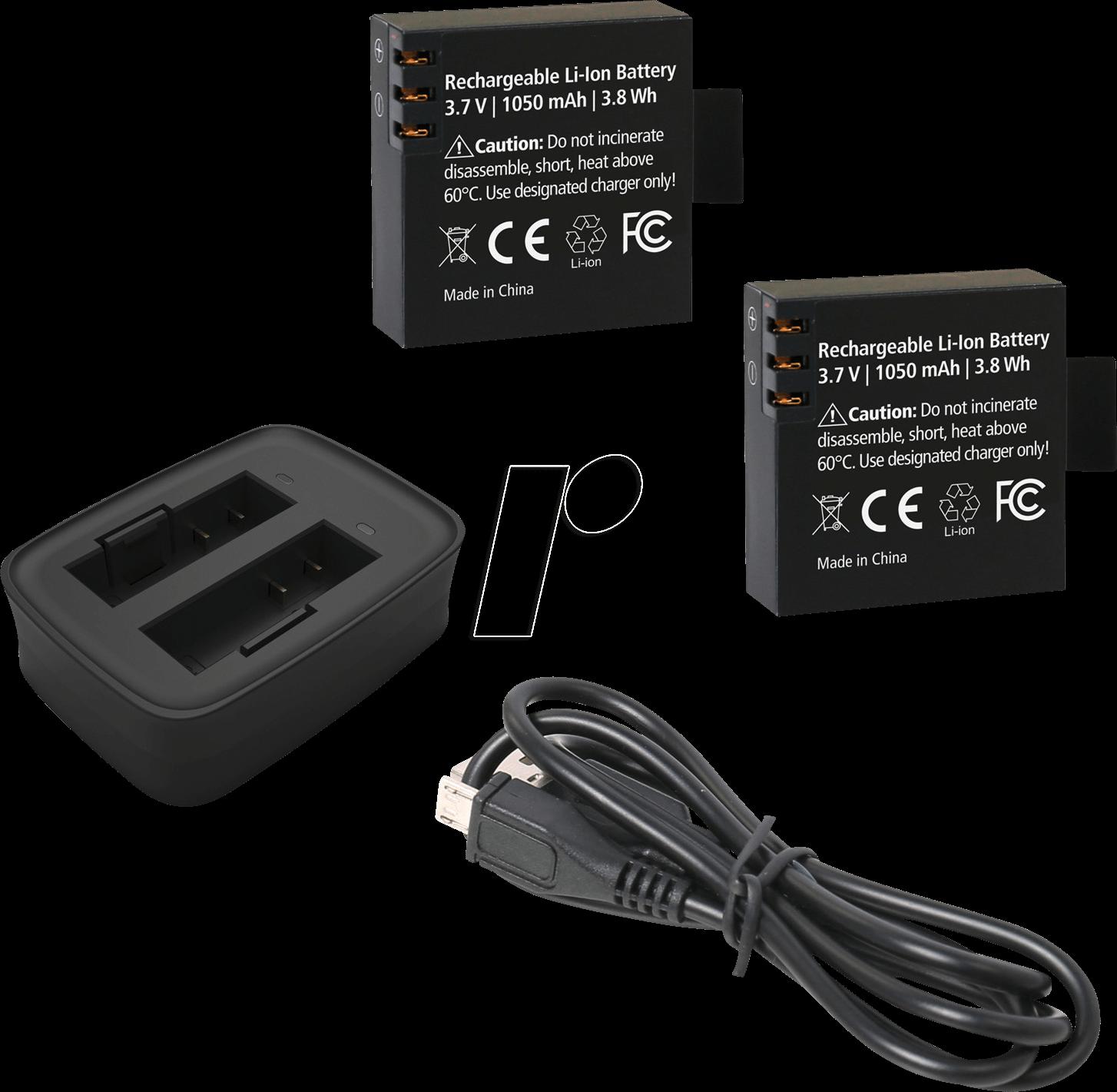 rollei 21645 ladeger t f r actioncam 530 630 inkl 2 akkus bei reichelt elektronik. Black Bedroom Furniture Sets. Home Design Ideas