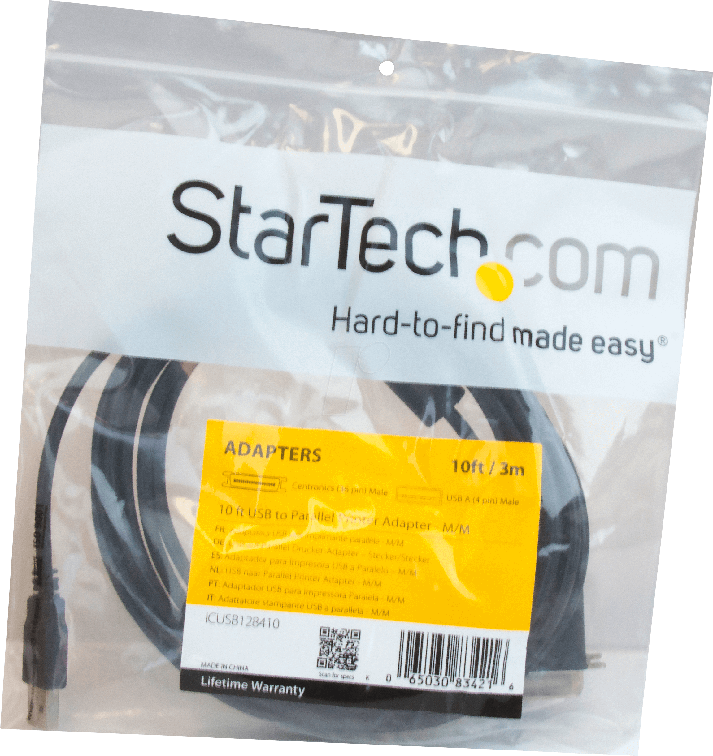 M//M Ieee 1284 Centronics Cable StarTech 10 Ft USB To Parallel Printer Adapter