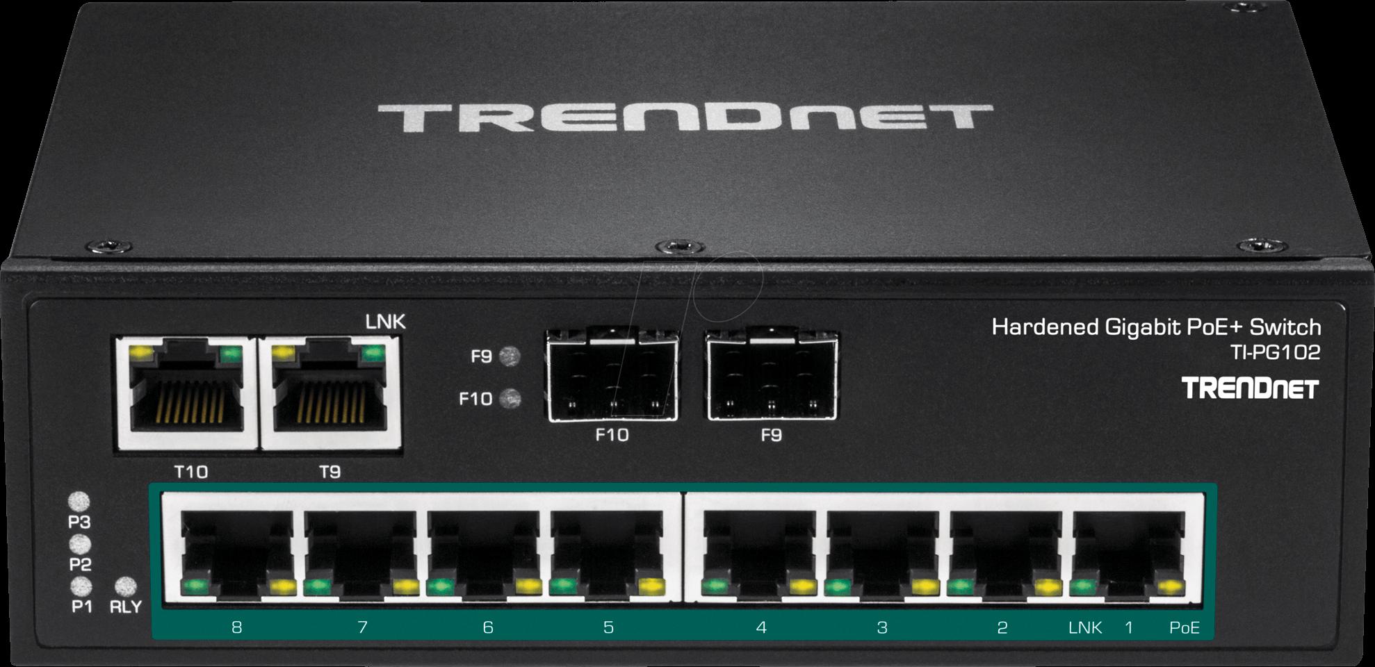 Trn Ti Pg102 Switch 10 Port Gigabit Ethernet Din Rail Poe Bei Trendnet