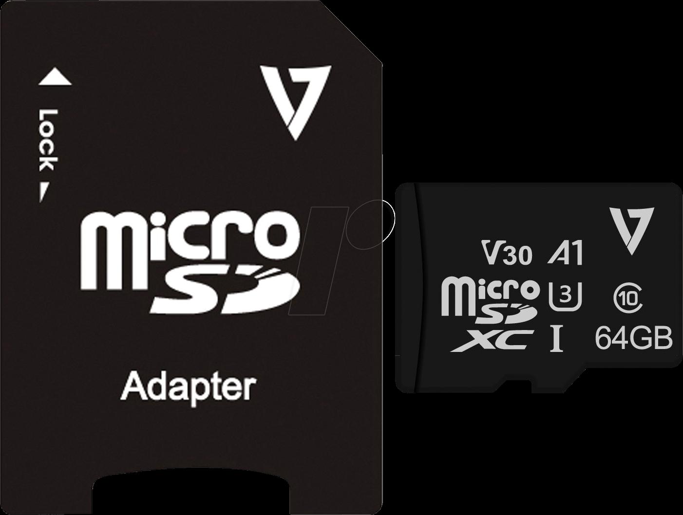 V7 VFMSD64GV30U3 - MicroSDXC-Speicherkarte 64GB, Class 10 UHS-3