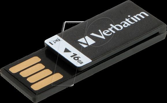 VERBATIM 43951 - USB 2 0 Stick, 16 GB, Clip-it, black