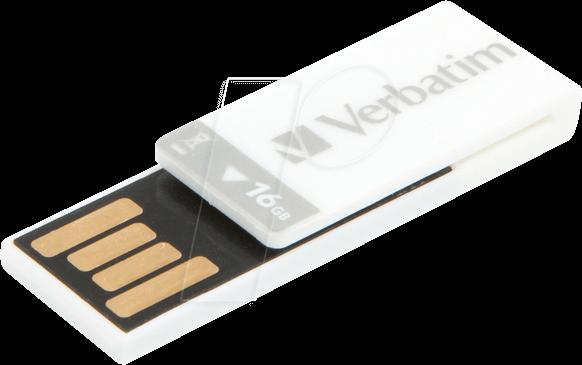 VERBATIM 43952 - USB 2 0 Stick, 16 GB, Clip-it, white