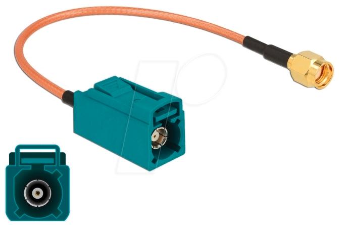 DELOCK 89664 - Antenna Cable FAKRA Z jack > RP-SMA plug RG-316 20 cm