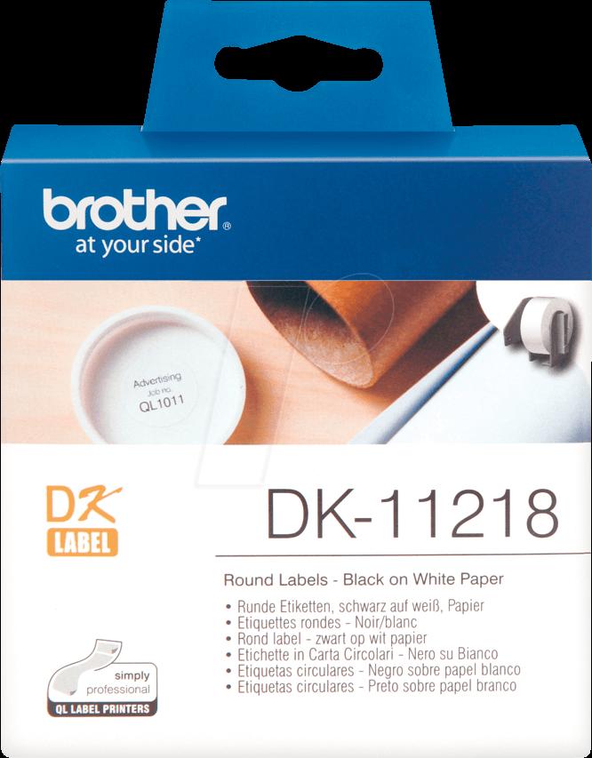BRO DK11218 - Round labels, white (1000 pcs/roll), paper, Ø 24