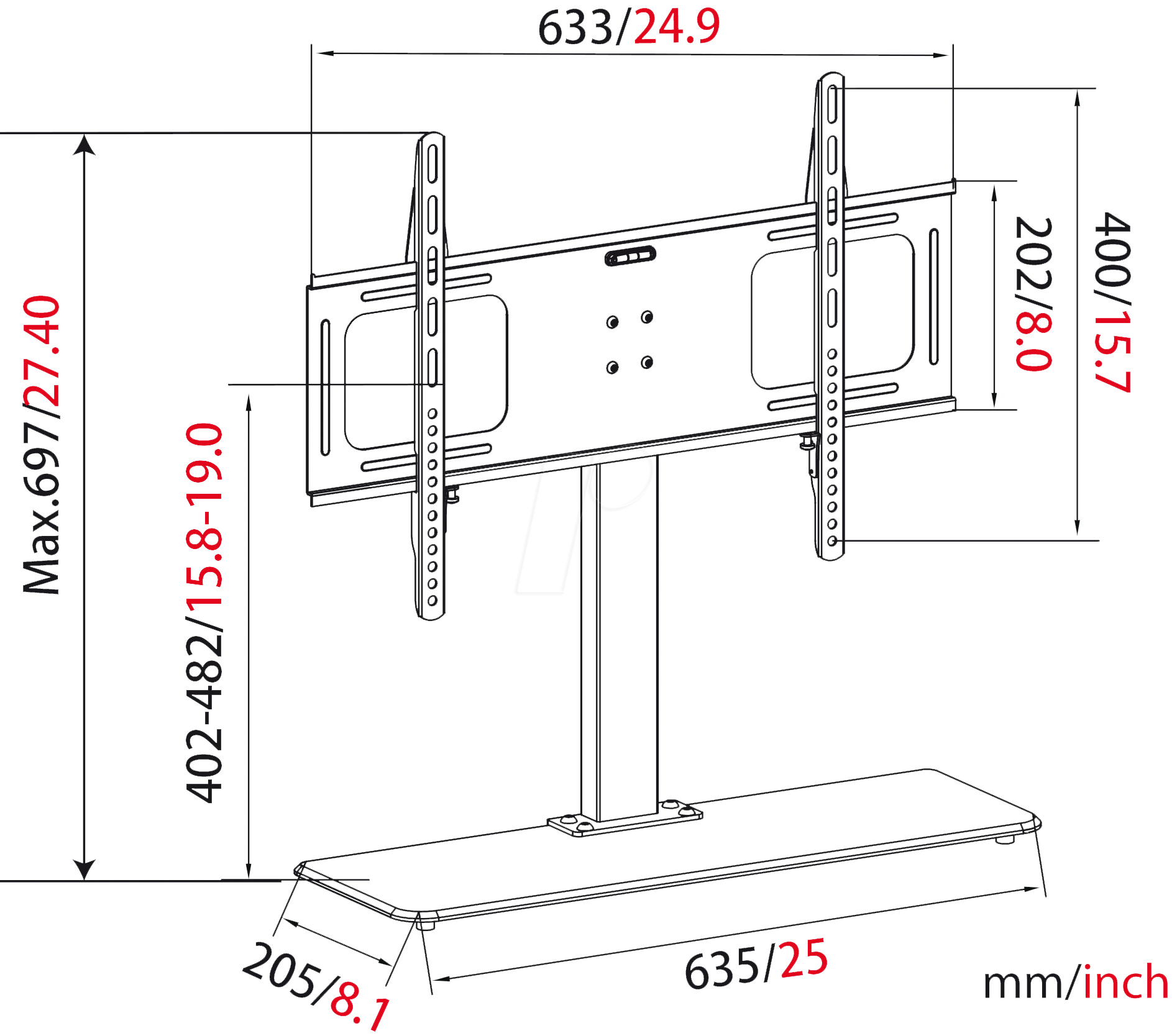 Myw Hp2dl Pedestal For Flat Screens 35 65 At Reichelt Engineering Schematics Plasma Screen Mywall