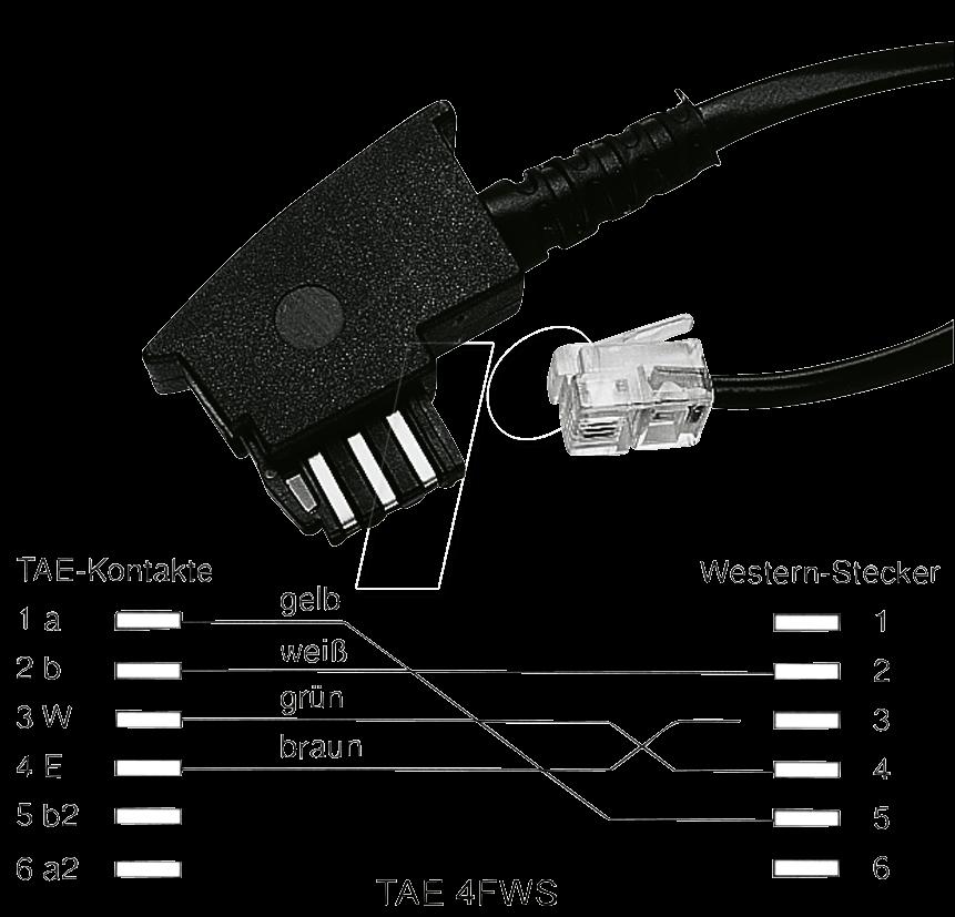 TAE 4FWS 3M - TAE Anschlusskabel, F Stecker / Modular Stecker, 3 m
