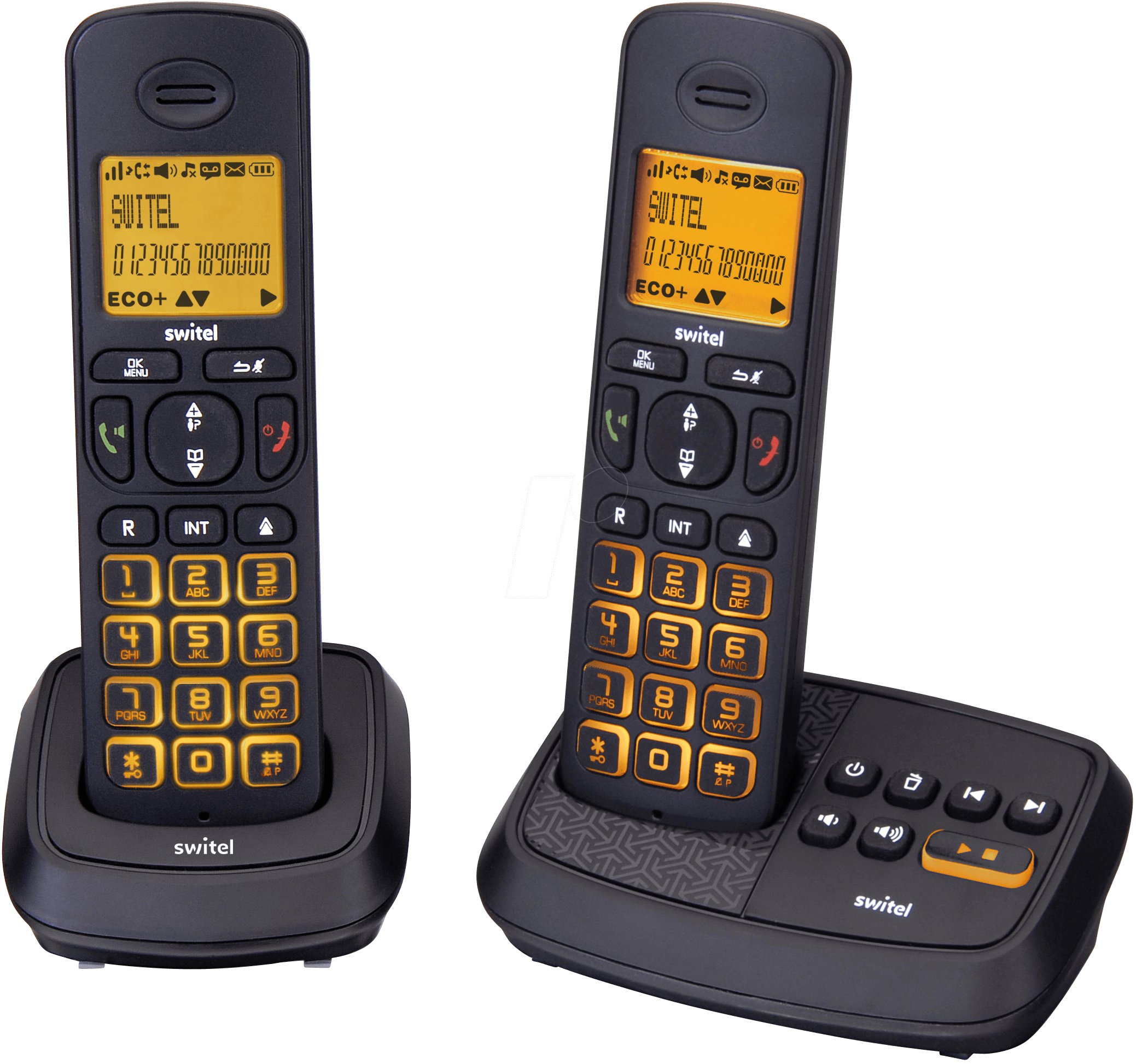 SWITEL DCT59072W - DECT Telefon, 2 Mobilteil mit Ladeschale, AB, schwarz