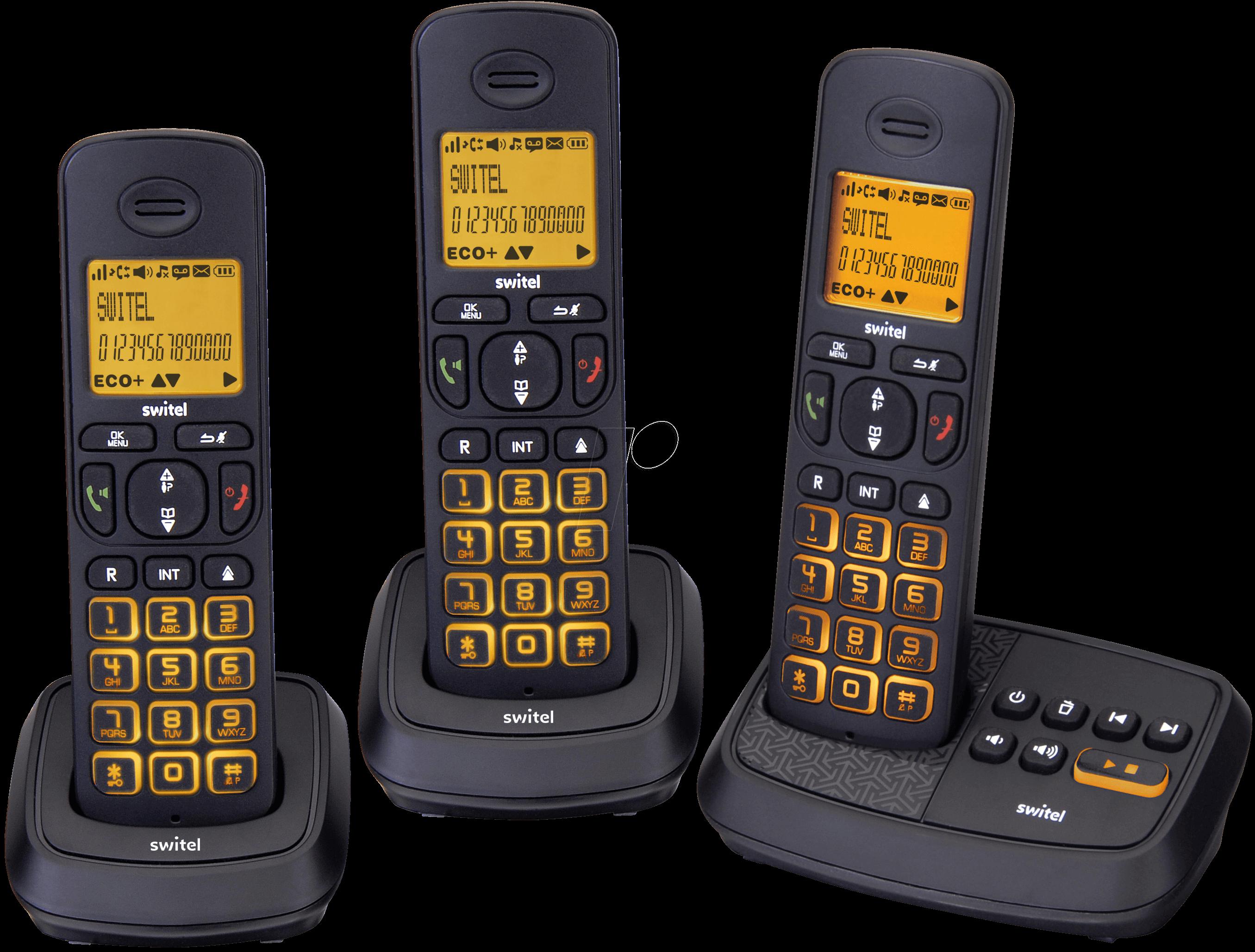 SWITEL DCT59073W - DECT Telefon, 3 Mobilteil mit Ladeschale, AB, schwarz