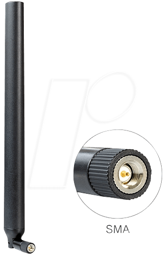 DELOCK 88436 - Antenne, 4G, WLAN, Dualband, SMA-Stecker, Kippgelenk, schwarz