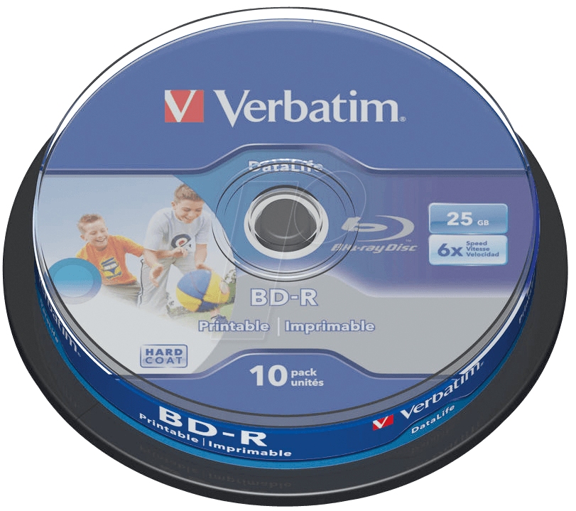 graphic about Printable Blu Ray Discs named VERBATIM 43804 - Blu-ray disc/25 GB/printable/spindle of 10