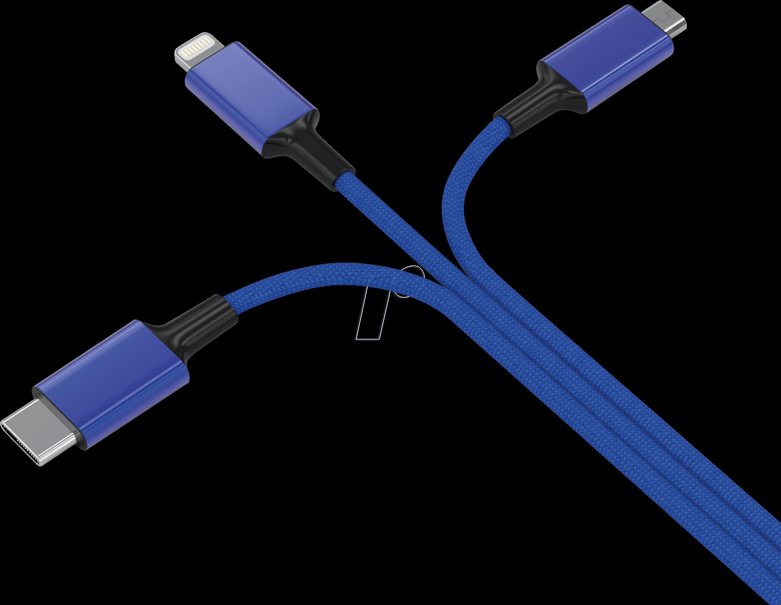 HYDRA PRO BL - Ladekabel, USB -> micro USB, Lightning & USB Type C, blau