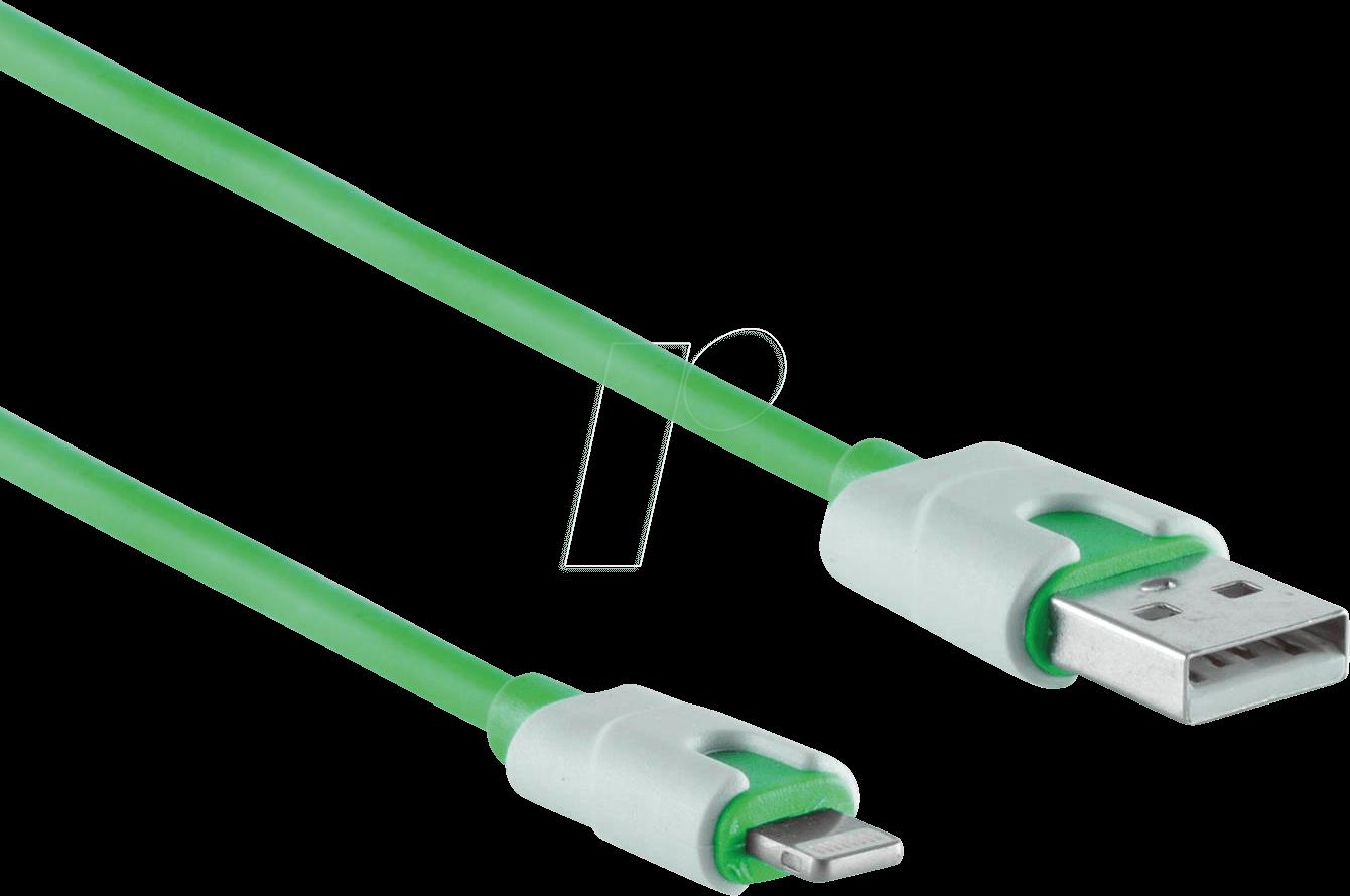 SHVP BS1450006 - USB-A-Stecker auf Lightning Stecker, grün, 0,9m