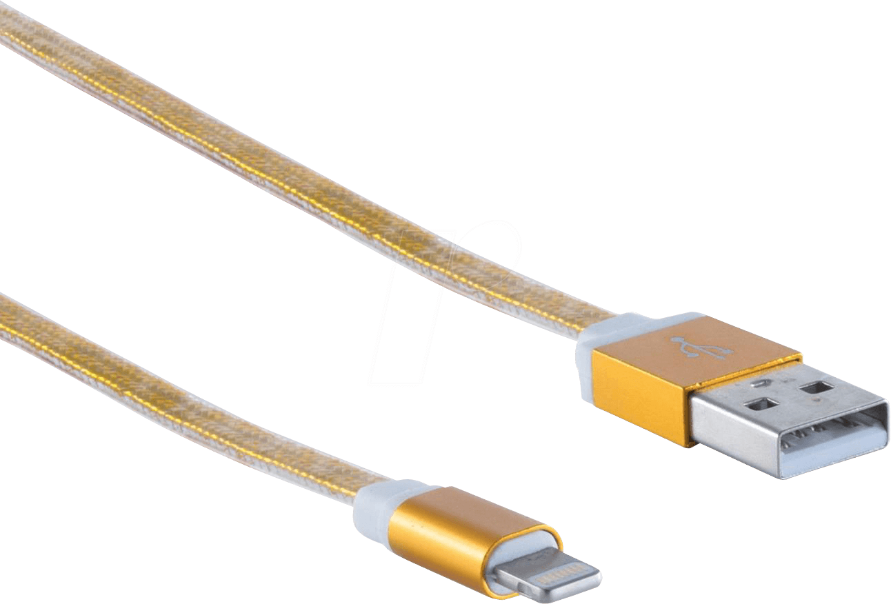 SHVP BS1450034 - USB-A-Stecker > Lightning Stecker ALU gold, 0,3m
