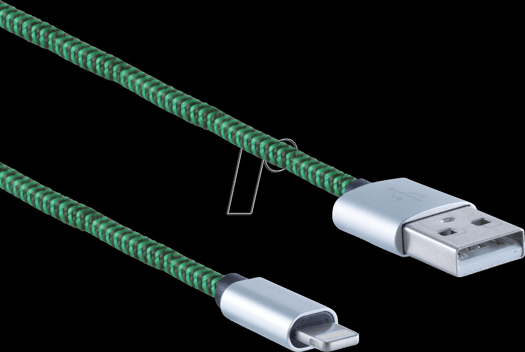 SHVP BS1450111 - USB-A-Stecker > Lightning Stecker Nylon grün 0,9m