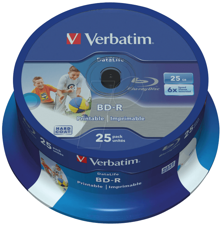 graphic relating to Printable Blu Ray Discs named VERBATIM 43811 - Blu-ray Disc/25 GB/printable/spindle of 25