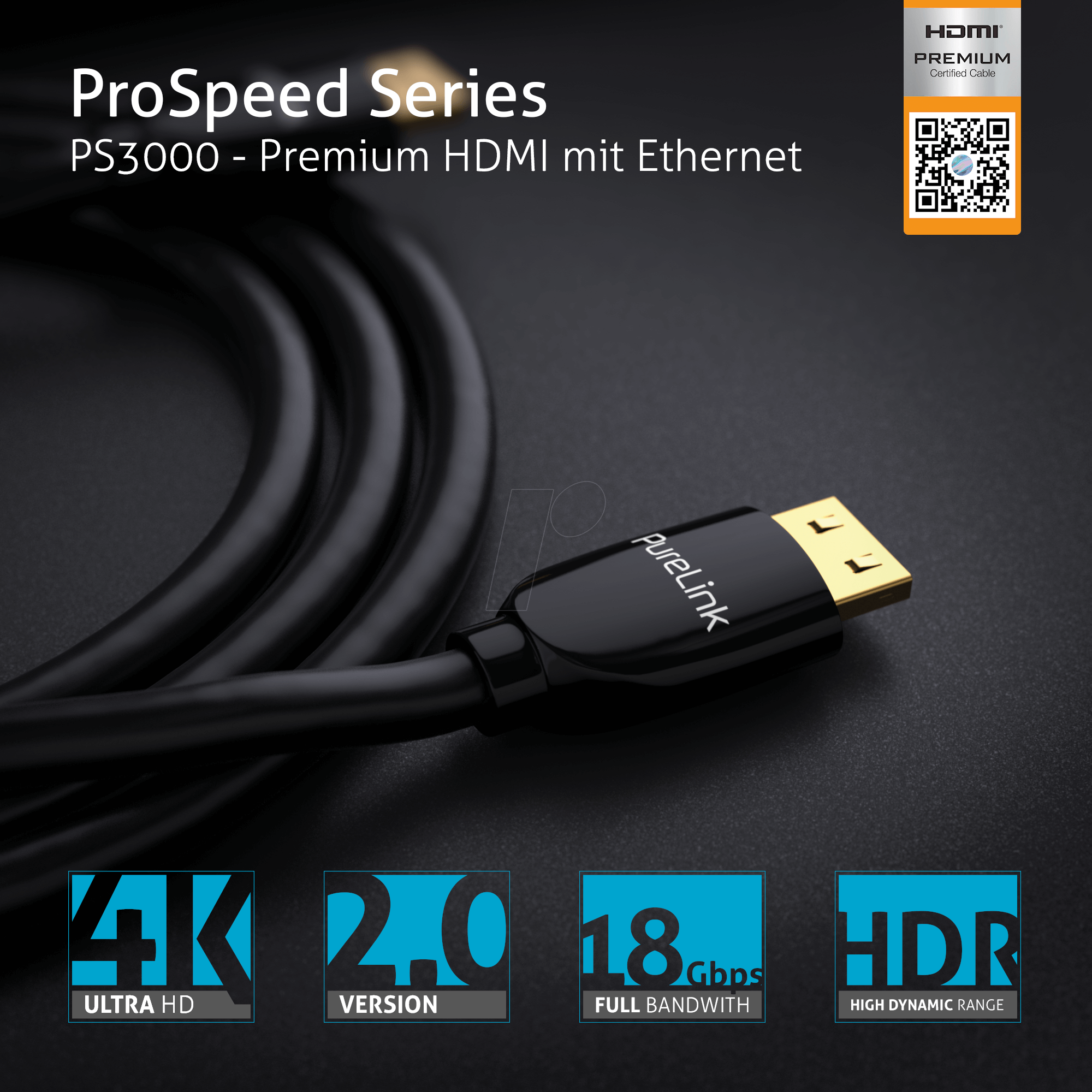 PURE PS3000-010: HDMI Cable - ProSpeed 1,00m at reichelt elektronik