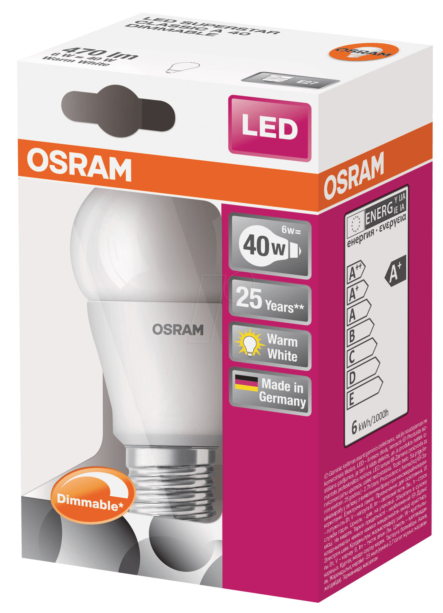 osr 899388543 osram led superstar cl a 40 6 w e27 at. Black Bedroom Furniture Sets. Home Design Ideas