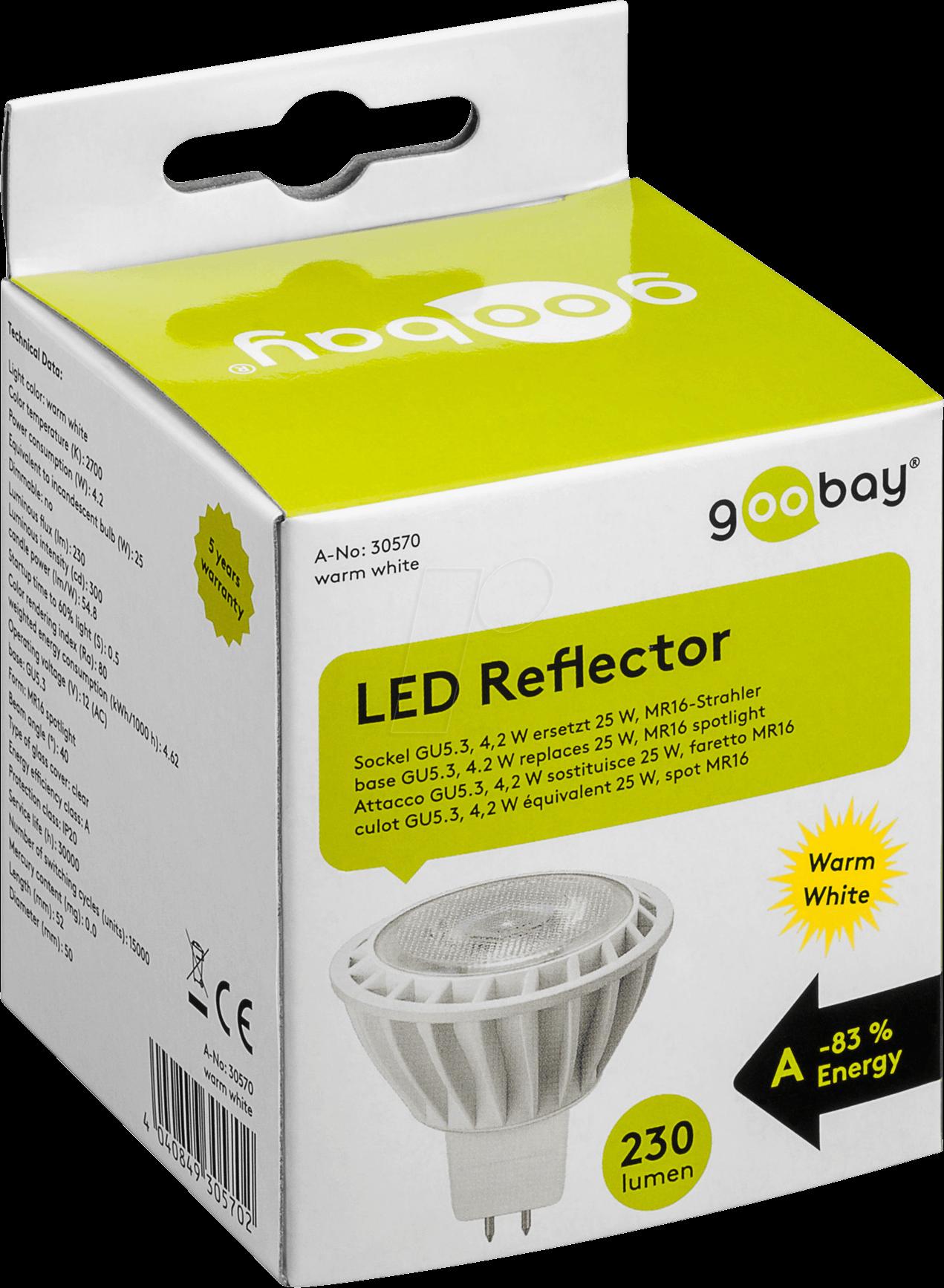 gb 30570 led spotlight gu5 3 4 w 240 lm ww eek a at. Black Bedroom Furniture Sets. Home Design Ideas