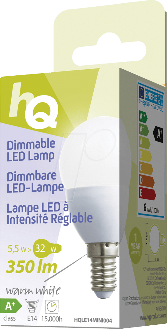 HQ LE14MINI004: LED-Lampe E14, 5,5 W, 350 lm, 2700 K, dimmbar bei ...