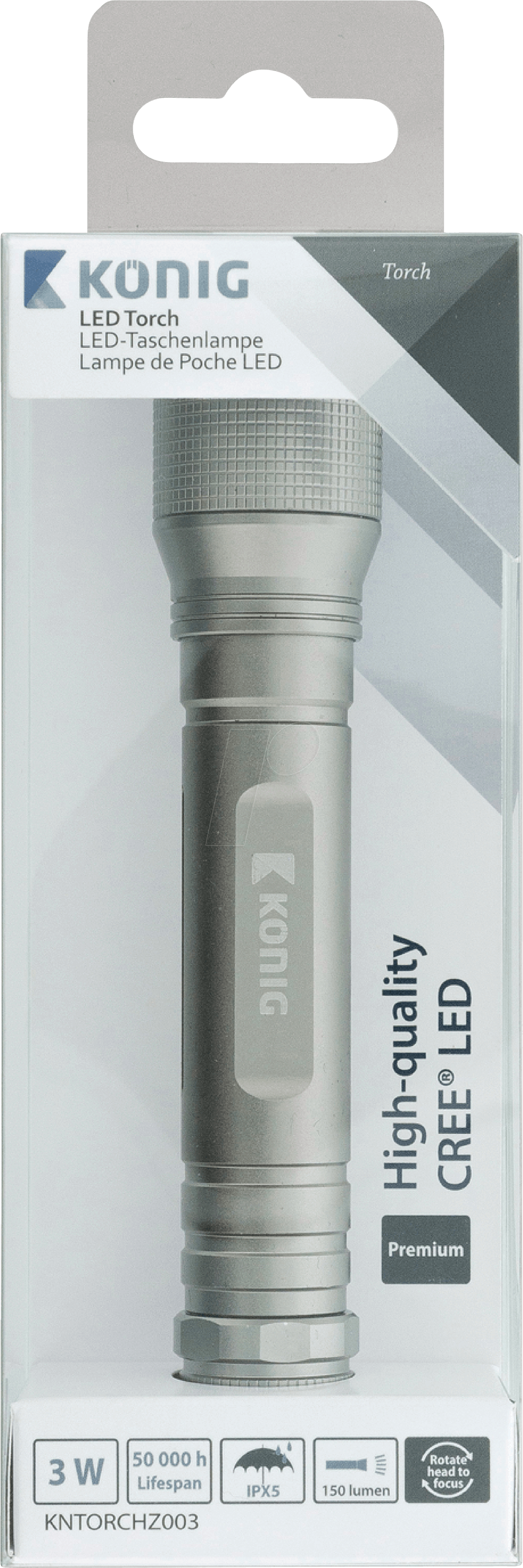 De Kn Argentée Lm Led Torchz003 Lampe Poche 150 9EDH2I