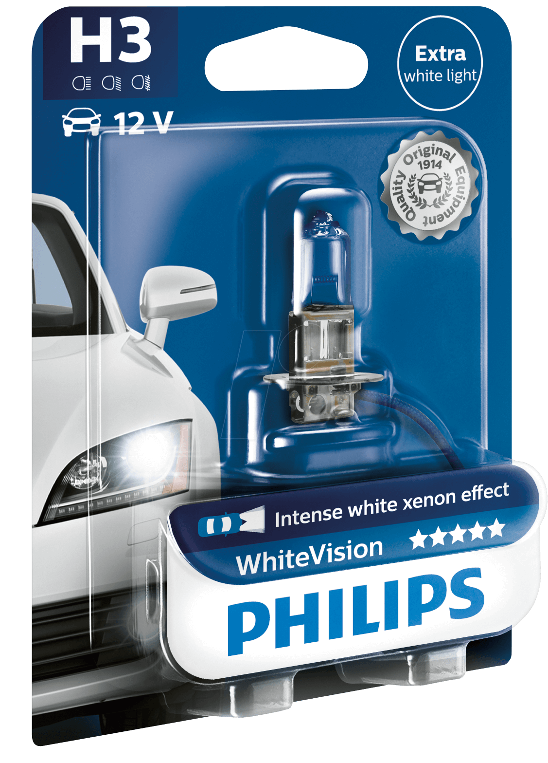 PHI H3 WHITE1 - H3 headlight bulb Philips White Vision, single unit